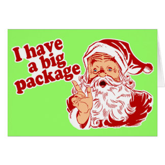 Santa Claus has a big package Greeting Card