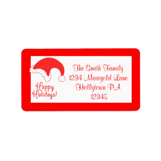 Santa Claus Hat Address Labels Red and White