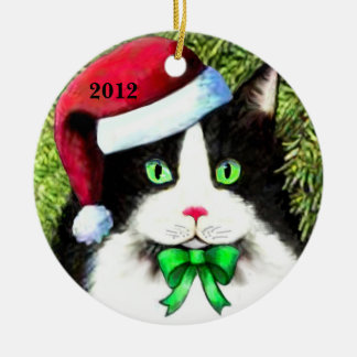 Santa Claus Hat Christmas Cat Ornament