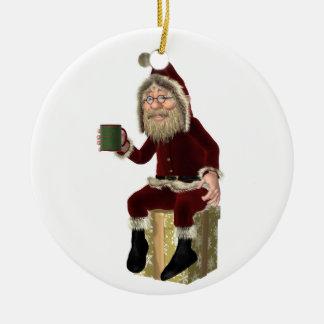 Santa Claus Having a Tea Break Round Ceramic Decoration