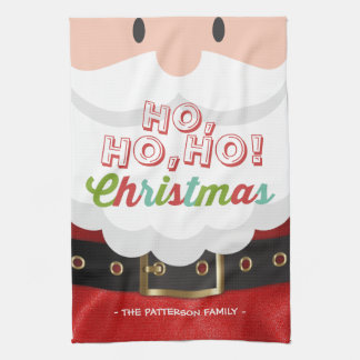 Santa Claus Ho Ho Christmas Happy New Year Holiday Hand Towels