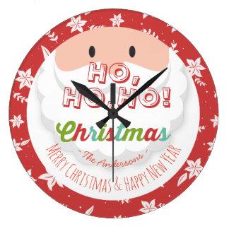 Santa Claus Ho Ho Christmas Happy New Year Holiday Large Clock
