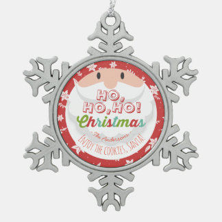 Santa Claus Ho Ho Christmas Happy New Year Holiday Pewter Snowflake Decoration