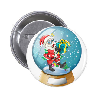 Santa Claus holding a gift inside the snow ball 6 Cm Round Badge