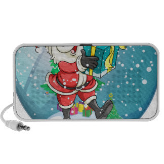 Santa Claus holding a gift inside the snow ball iPod Speakers