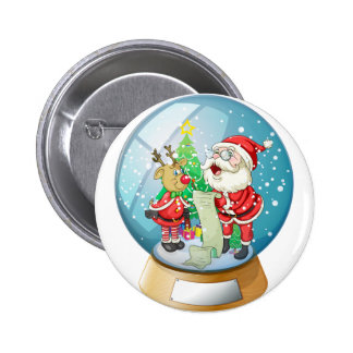 Santa Claus holding a list inside the snow ball wi 6 Cm Round Badge