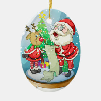 Santa Claus holding a list inside the snow ball wi Ceramic Oval Decoration