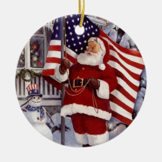Santa Claus Holding American Flag Christmas Ornament