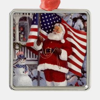 Santa Claus Holding American Flag Silver-Colored Square Decoration