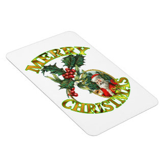 Santa Claus Holly  4X6 Rectangular Magnet