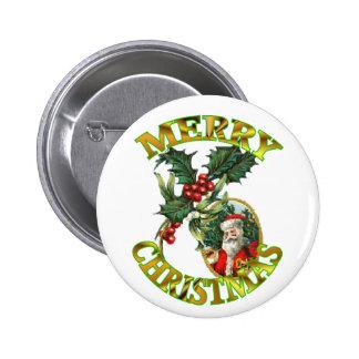 Santa Claus Holly 6 Cm Round Badge