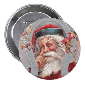 Santa Claus Horseshoe Framed Vintage Button