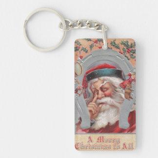 Santa Claus Horseshoe Framed Vintage Keychain