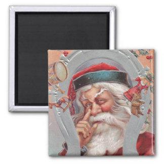 Santa Claus Horseshoe Framed Vintage Magnet