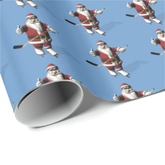 Santa Claus Ice Hockey Player Wrapping Paper