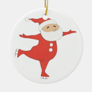 Santa Claus ice-skating {ornament} CUSTOMIZE Christmas Ornament