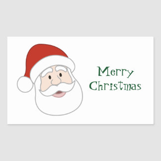 Santa Claus Illustration & Text Rectangular Sticker