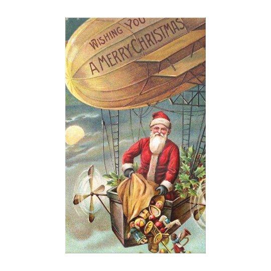 Santa Claus in Airship 3 Canvas Print