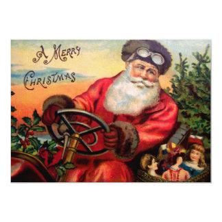 Santa Claus in Automobile 13 Cm X 18 Cm Invitation Card