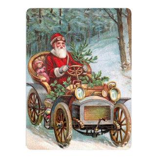 Santa Claus in Automobile 17 Cm X 22 Cm Invitation Card