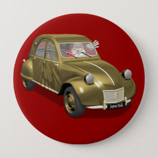 Santa Claus In Citroen 2CV 10 Cm Round Badge