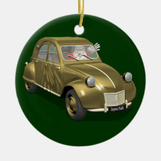 Santa Claus In Citroen 2CV Round Ceramic Decoration