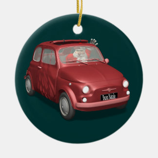 Santa Claus In Fiat 500 Christmas Ornament