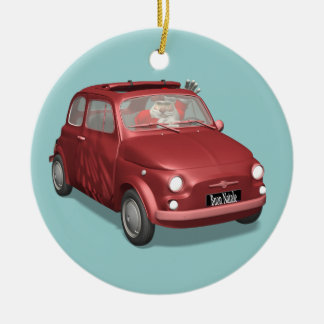 Santa Claus In Fiat 500 Christmas Ornament