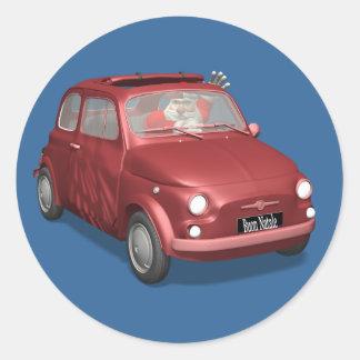 Santa Claus In Fiat 500 Round Sticker