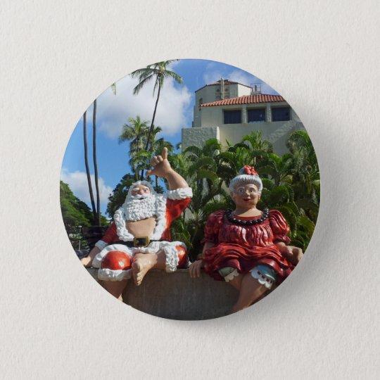 Santa Claus in Hawaii 6 Cm Round Badge