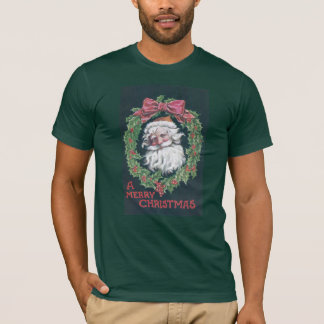 Santa Claus in Holly Wreath T-Shirt