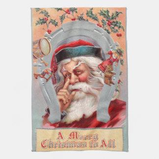 Santa Claus in Horseshoe Tea Towel