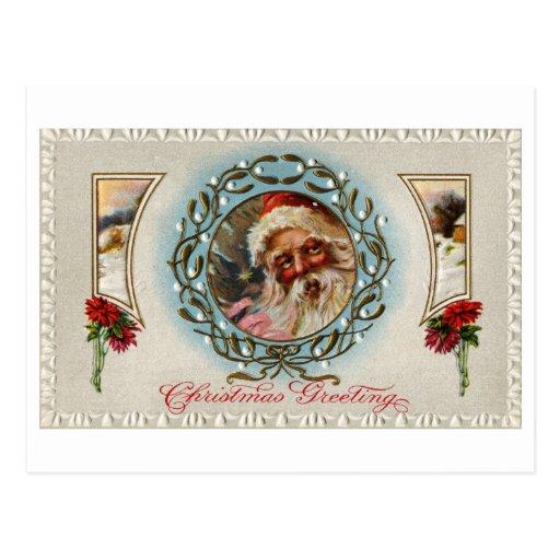 Santa Claus in Mistletoe Wreath Post Card