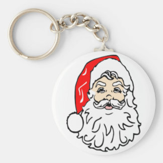 Santa Claus in Red Hat Basic Round Button Key Ring