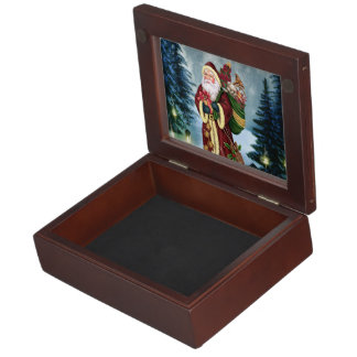 Santa Claus In The Forest Keepsake Box