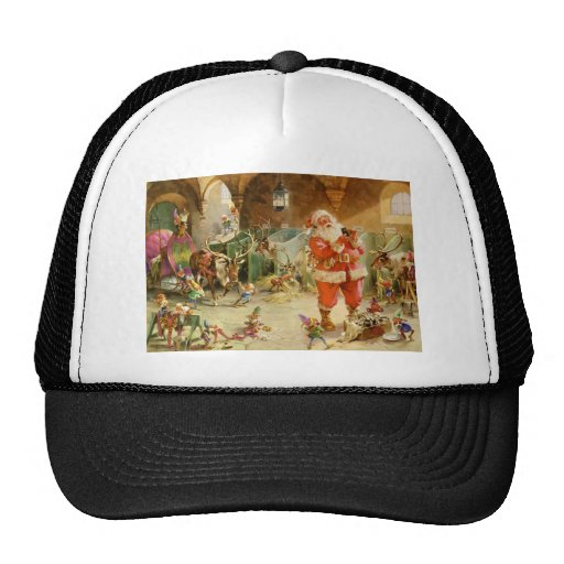 Santa Claus in the North Pole Reindeer Stables Mesh Hat