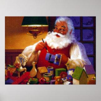 Santa Claus in Toy Shop Print