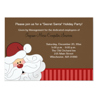 Santa Claus Invitation 2-sided Holiday Party Card