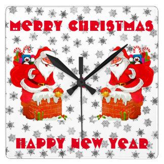 Santa Claus is coming Square Wall Clock