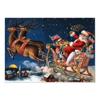 """Santa Claus is Comming to Town 5"""" X 7"""" Invitation Card"""