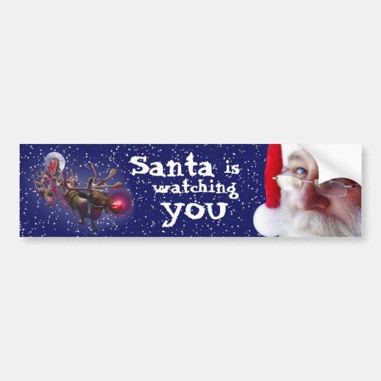 Santa Claus Is Watching You Bumper Sticker Zazzle Co Uk