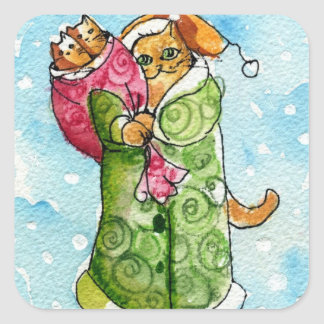 Santa Claus Kitty Cat Square Sticker