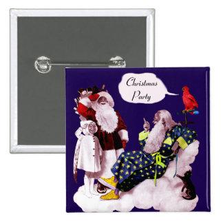 SANTA CLAUS ,LITTLE ANGEL & MERLIN Christmas Party 15 Cm Square Badge