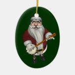 Santa Claus Loves His Banjo Ceramic Oval Decoration