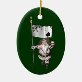 Santa Claus Loves Playing  Poker Christmas Ornament