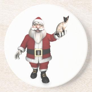 Santa Claus Loves Siamese Cats Drink Coaster