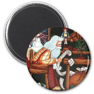 santa claus making a list 6 cm round magnet