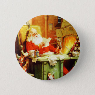 Santa Claus Making His List, Checking it Twice 6 Cm Round Badge