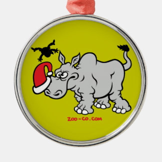 Santa Claus Meets a Rhino Christmas Ornament
