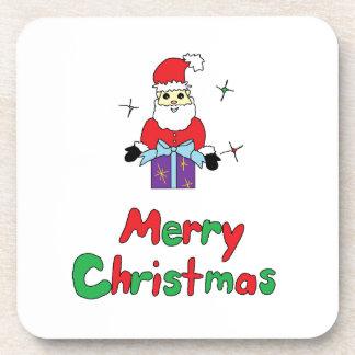 Santa Claus Merry Christmas Beverage Coasters